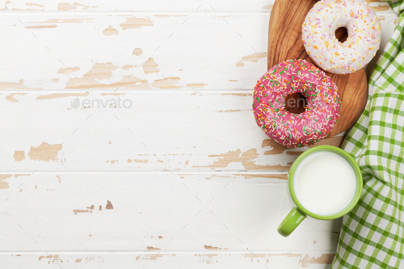 Milk and donuts - Stock Photo - Images
