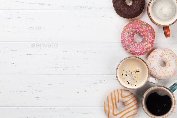 Coffee and donuts - Stock Photo - Images