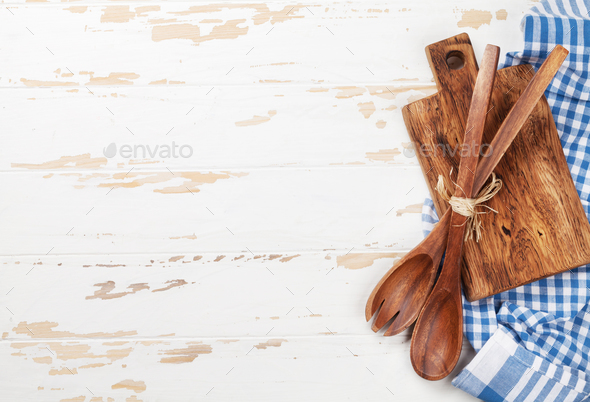 Cooking table with utensils - Stock Photo - Images