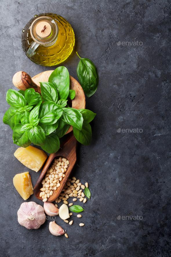 Pesto sauce ingredients - Stock Photo - Images