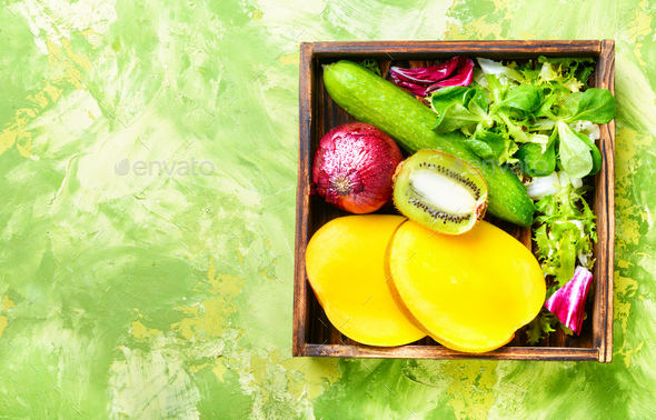 Colorful fruits and vegetables - Stock Photo - Images