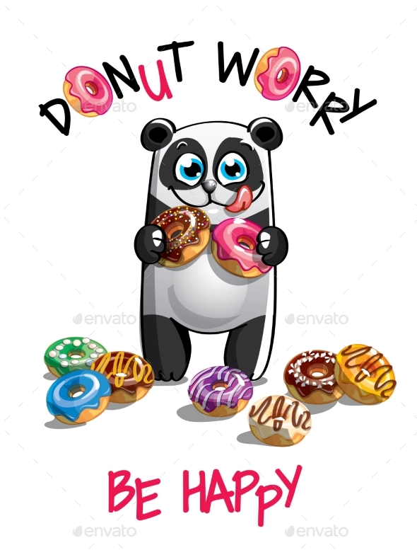 Vector Illustration of Cartoon Panda with Donuts. - Animals Characters