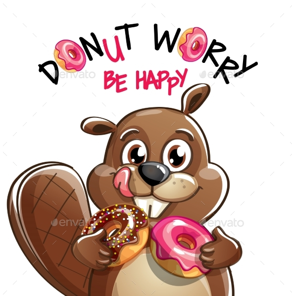 Vector Illustration of Cartoon Beaver with Donuts. - Animals Characters