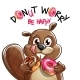 Vector Illustration of Cartoon Beaver with Donuts. - GraphicRiver Item for Sale