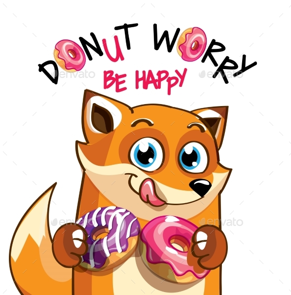 Vector Illustration of Cartoon Fox with Donuts. - Animals Characters