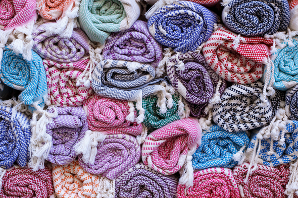 Colourful blankets - Stock Photo - Images