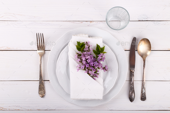 Spring table setting - Stock Photo - Images