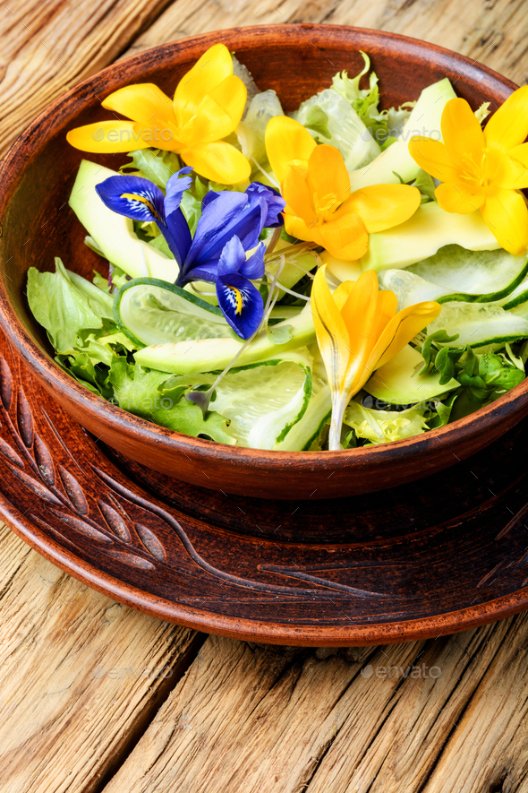 Edible flowers salad - Stock Photo - Images