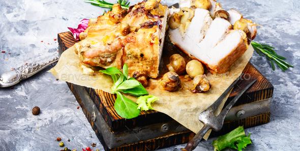 Roasted sliced pork - Stock Photo - Images