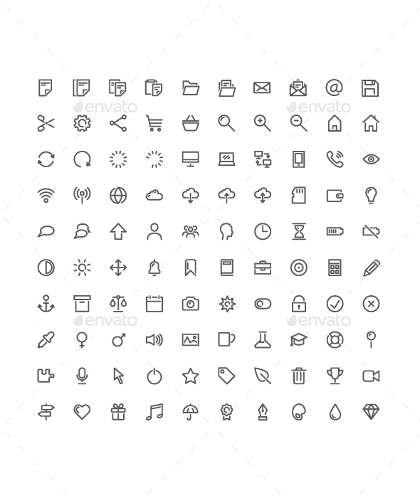 100 Basic Vector Icons - Icons