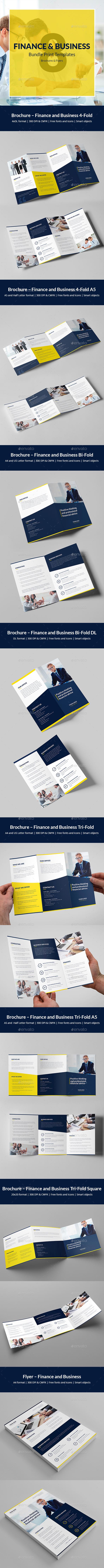 Finance and Business – Brochures Bundle Print Templates 8 in 1 - Corporate Brochures