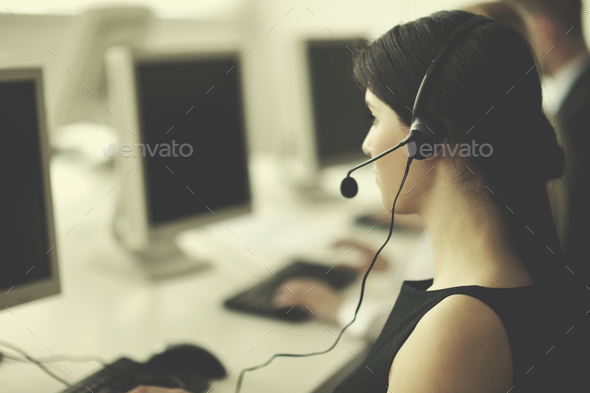 business people group working in customer and help desk office - Stock Photo - Images