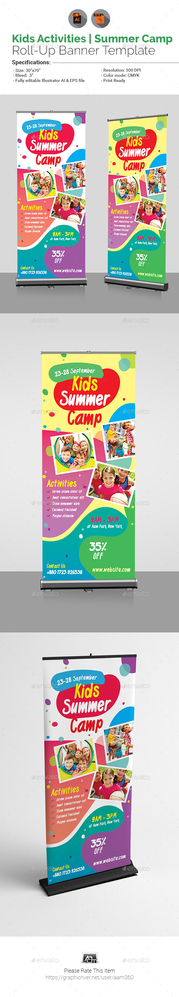 Kids Activities | Kids Summer Camp Roll-Up - Signage Print Templates