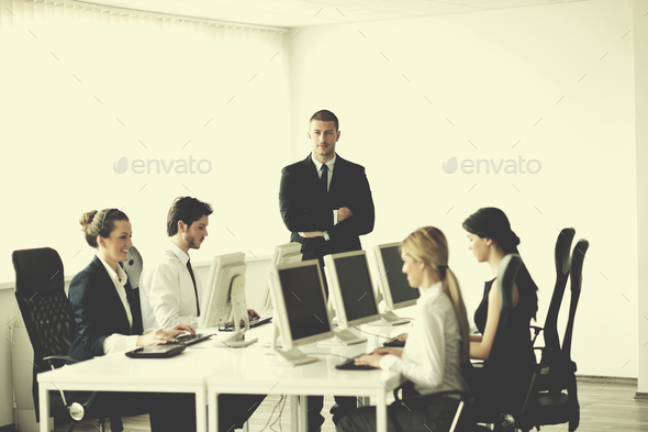 business people group working in customer and helpdesk office - Stock Photo - Images