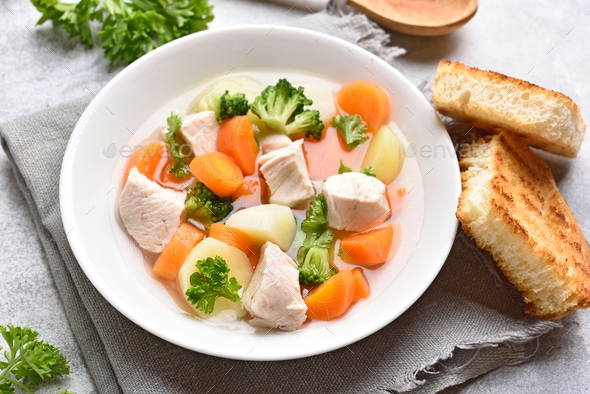 Vegetable chicken soup - Stock Photo - Images