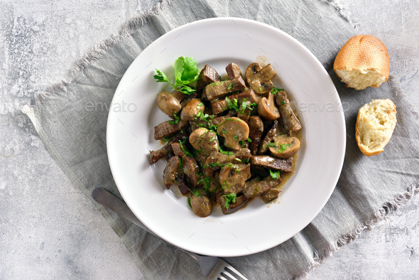 Beef stroganoff with mushrooms - Stock Photo - Images