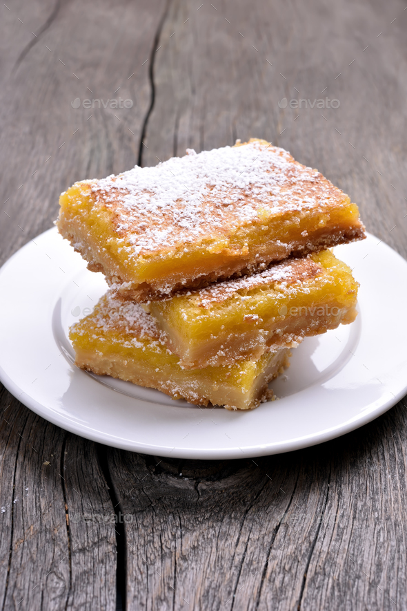 Lemon squares on plate - Stock Photo - Images