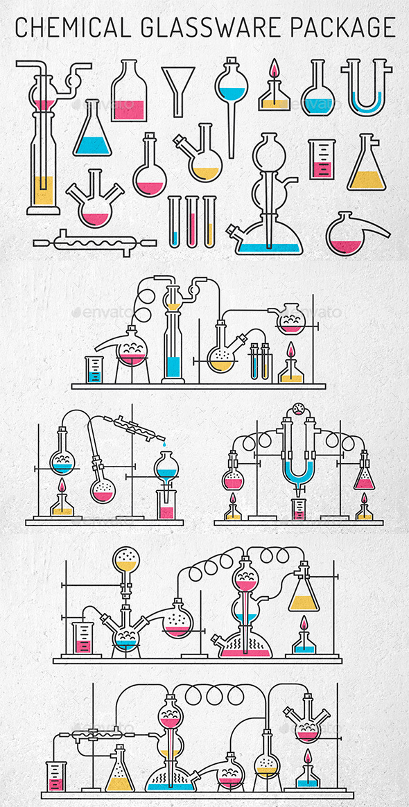 Chemical Glassware Package - Miscellaneous Vectors