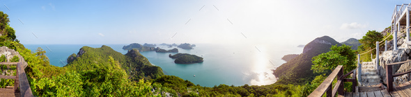 Panorama sunrise at Mu Ko Ang Thong - Stock Photo - Images