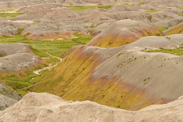 Very Colorful Sediments in the Badlands - Stock Photo - Images