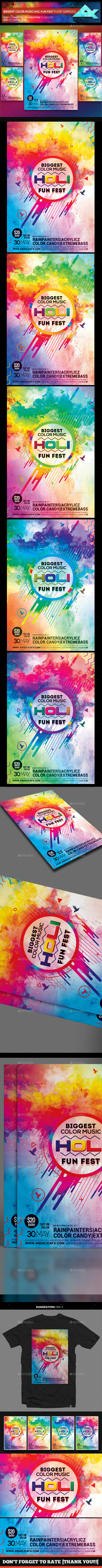 Biggest Color Music HOLI Fun Fest Flyer Template - Flyers Print Templates