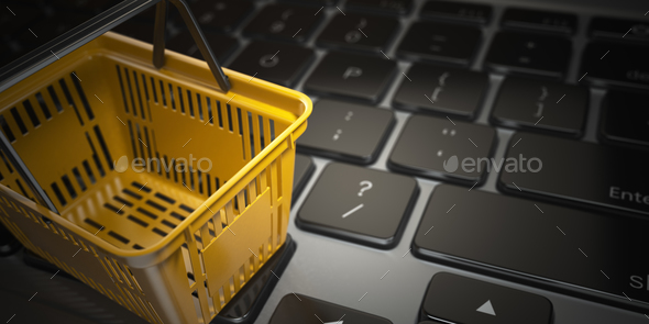 E-commerce, online shopping, internet purchases concept.  Yellow - Stock Photo - Images