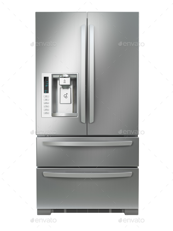 Fridge freezer. Side by side stainless steel refrigerator  with - Stock Photo - Images