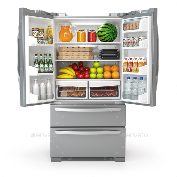 Open fridge refrigerator  full of food and drinks isolated on wh - Stock Photo - Images
