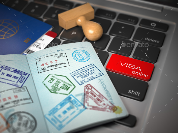 Visa online application concept. Open passport with visa stamps - Stock Photo - Images