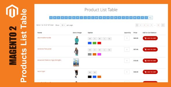 Products List Table For Magento 2 - CodeCanyon Item for Sale