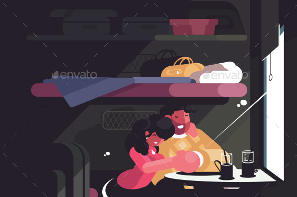 Happy Couple Traveling in Train Compartment - Miscellaneous Vectors
