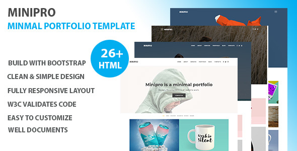 Minipro - Minimal Portfolio Template Free Download | Nulled