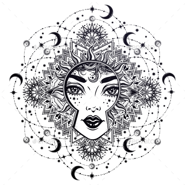 Divine Night Goddess Girl with Ornate - People Characters
