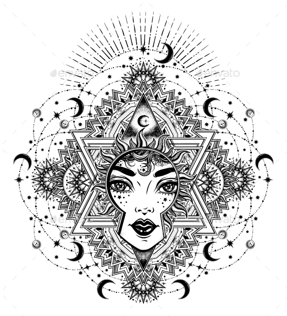 Divine Sun Goddess Girl with Ornate Halo - People Characters