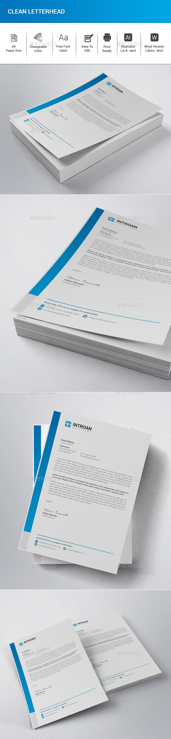Clean Letterhead - Stationery Print Templates
