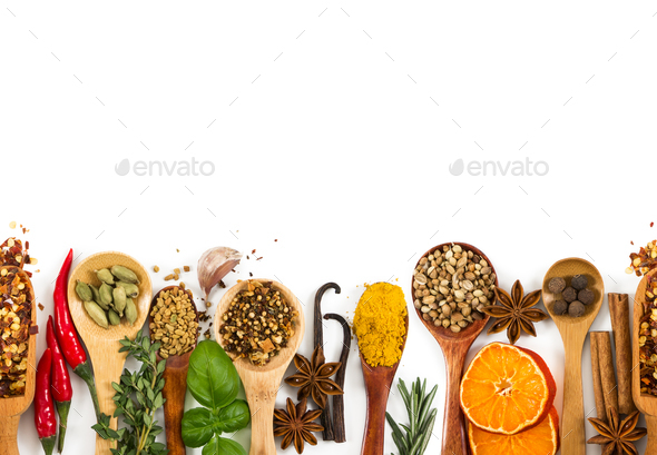 Different spices, seasonings and herbs - Stock Photo - Images