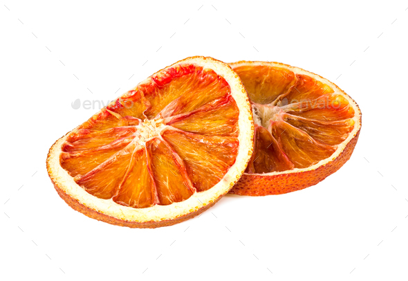 Two dried orange slices isolated on white - Stock Photo - Images