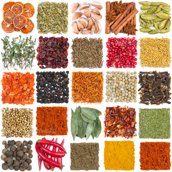 Set of different spices and seasonings - Stock Photo - Images