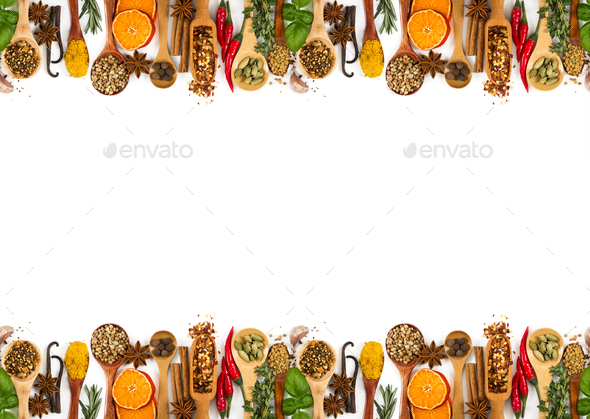 Different spices, seasonings and herbs isolated on white - Stock Photo - Images