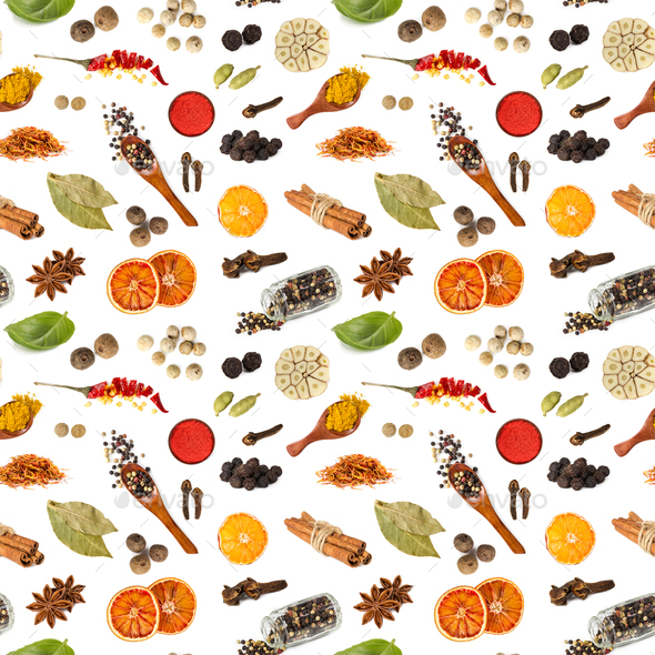 Seamless pattern with different spices - Stock Photo - Images