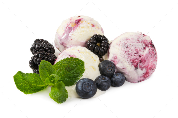 Three balls of ice cream with fresh blueberries, blackberries an - Stock Photo - Images