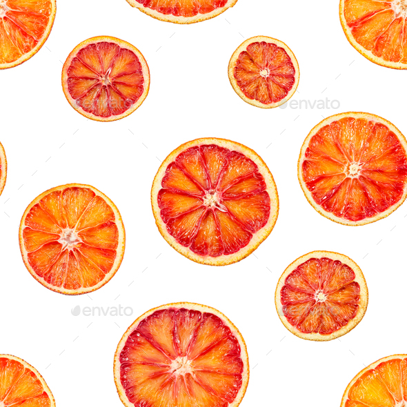 Seamless pattern with red blood orange oranges - Stock Photo - Images