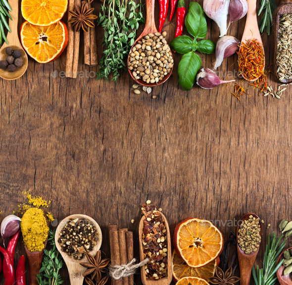 Various spices, seasonings and herbs. Mock-up. - Stock Photo - Images