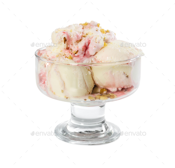 Strawberry-vanilla ice cream with nuts in glass vase - Stock Photo - Images