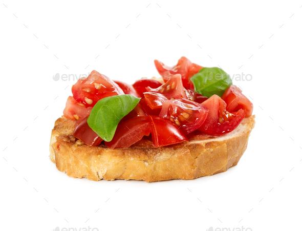 Bruschetta with fresh tomato and basil - Stock Photo - Images