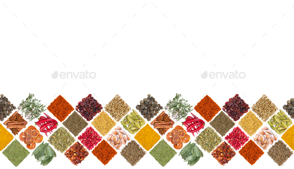 Seamless horizontal pattern with different spices - Stock Photo - Images