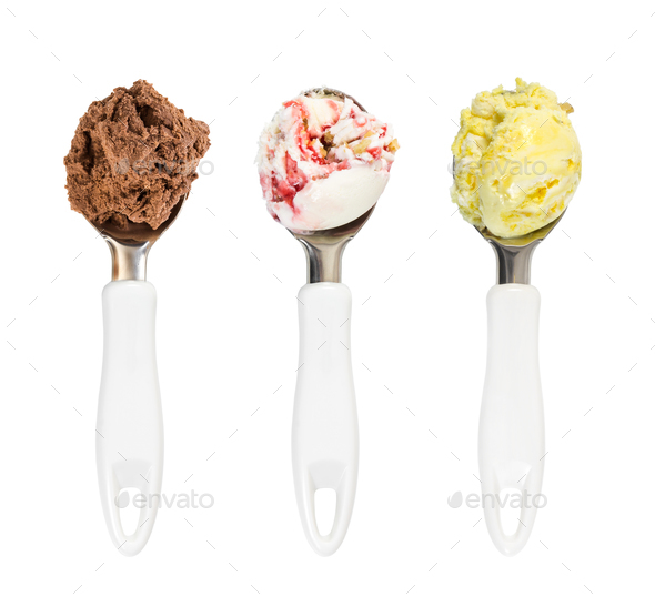 Set of balls of chocolate, banana and strawberry ice cream in sp - Stock Photo - Images