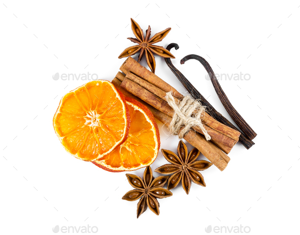 Dried orange slices, cinnamon, star anise and vanilla - Stock Photo - Images