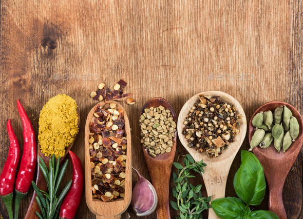 Various spices, seasonings and herbs - Stock Photo - Images