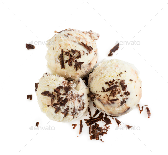 Three balls creamy chocolate ice cream with chocolate chips isol - Stock Photo - Images